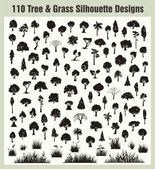 Vector Tree and Grass Silhouettes Set — Stock Vector