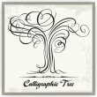 Calligraphic Vector Tree — Stock Vector