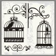 Vintage Bird Cages with Ornamental Decorations - Stok Vektr