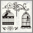 Stock Vector: Vintage Bird Cages with Ornamental Decorations