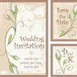 Wedding Invitation Designs Set with Rose Buds — Stock Vector