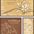Ornamental Invitation Designs Set with Flowers - Stock Vector