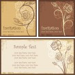Ornamental Invitation Designs Set with Roses — Stock Vector