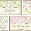 Vector set of wedding invitation designs with floral ornaments. - Stock Vector