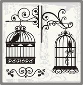 Vintage Bird Cages with Ornamental Decorations — Vetor de Stock
