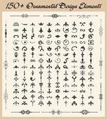 150 Exquisite Ornamental Design Elements — Stock Vector