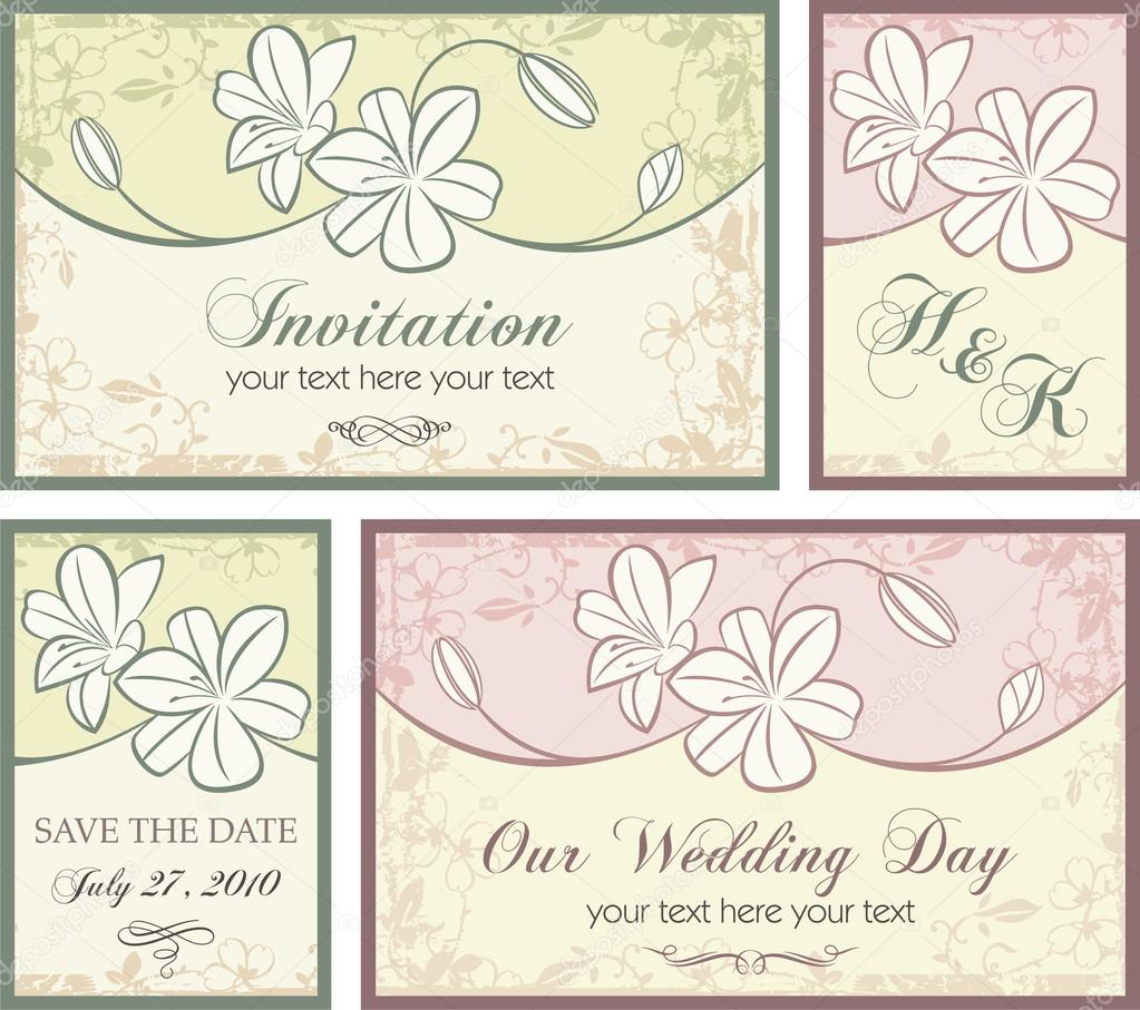 stock illustration vector set of wedding invitation wedding invitation set Vector set of wedding invitation designs with floral ornaments Stock Vector