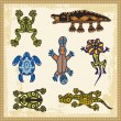Vector set of animals in Australian aboriginal style. - Stock vektor