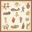 Vector set of Australian aboriginal petroglyph ornaments. — Stock Vector #22438911