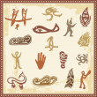 Vector set of Australian aboriginal petroglyph ornaments. - Stock Vector
