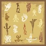 Vector set of Australian aboriginal petroglyph ornaments. — Stock Vector #22438913