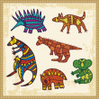 Vector set of animals in Australian aboriginal style. — Stock Vector
