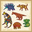 Vector set of animals in Australian aboriginal style. - Stock Vector