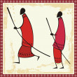 Vector African Masai Warriors Illustrations - Stok Vektör