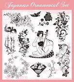 Japanese Traditional Ornaments Vector Set — Stock Vector
