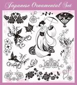 Japanese Traditional Ornaments Set — Stock Vector
