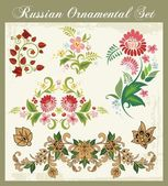 Vector Floral Ornaments in Russian Style — Stock Vector