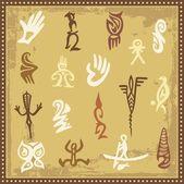 Vector set of Australian aboriginal petroglyph ornaments. — Stock Vector