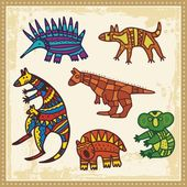 Vector set of animals in Australian aboriginal style. — Stock Vector