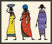 Vector African Women Set — Stock Vector