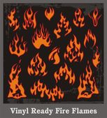 Vinyl Ready Fire Flames — Stock Vector