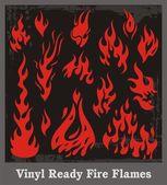 Vinyl Ready Fire Flames — Stock Vector