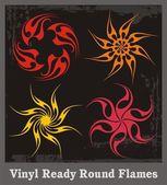 Vinyl Ready Round Flames — Stock Vector