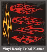 Vinyl Ready Tribal Flames — Stock Vector