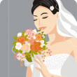 Beautiful Bride Vector Illustration — Stok Vektör
