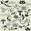 A set of 25 ornamental design elements in classic style — Stock Vector