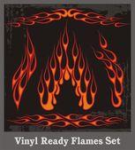 Vinyl Ready Flames Set — Stock Vector