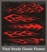 Vinyl Ready Classic Flames — Stock Vector