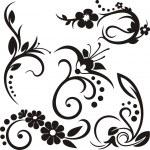 A set of 5 floral design elements. — Stock Vector #22534043