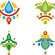Set of colorful Indiornamental designs. — Stock Vector #22533725