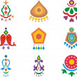 A set of colorful Indian ornamental designs. — Stock Vector