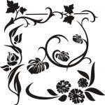 A set of 5 floral design elements. — Stock Vector
