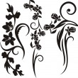 A set of 3 floral design elements. - Stock Vector