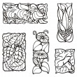 Floral rectangle design elements, vector series. — ベクター素材ストック