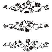 Wzory ozdobnych fryz ze szczegółami kwiatowy, seria wektor. — Wektor stockowy