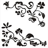 Ornamental corner designs with floral details, vector series. — Stock Vector