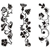 Ornamental frieze designs with floral details, vector series. — Stock Vector