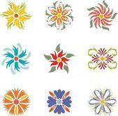 Una serie di disegni ornamentali indiane colorati. — Vettoriale Stock