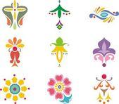 カラフルなインドの装飾的なデザインのセット. — ストックベクタ