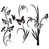 A set of 3 floral design elements. — Stock Vector