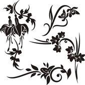 A set of 4 floral design elements. — Stock Vector