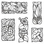 Floral rectangle design elements, vector series. — Stock Vector