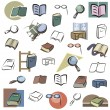 A set of vector icons of books and reading devices in color, and black and white renderings. - Stock Vector