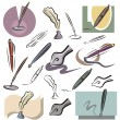 A set of vector icons of pens in color, and black and white renderings. - Stock Vector