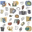 A set of vector icons of office objects in color, and black and white renderings. - Stock Vector