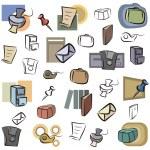 um conjunto de ícones do vetor de objetos do office em cor e preto e brancas renderizações — Vetorial Stock